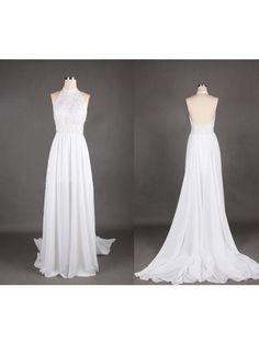 White Chiffon Evening Dress,Formal Evening Dresses,Halter Backless Prom