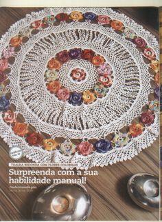 Mania-de-Tricotar: Centro de mesa rosas em crochê