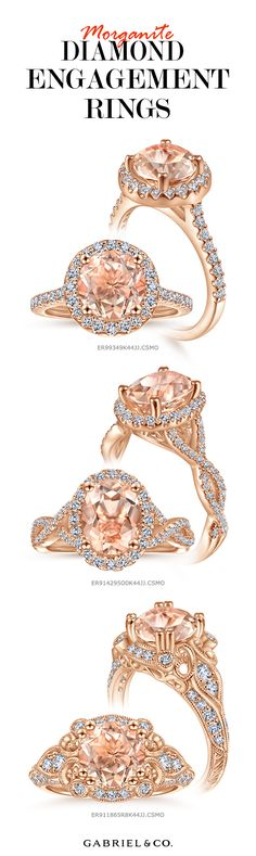 Romantic and feminine, morganite engagement rings set in rose gold captivate the heart with warm blush tones and an enchanting brilliance. Matched with tiny radiant diamonds, the exquisite soft pink and peach hues of the morganite gemstone are accentuated to give the feeling of natural elegance and luxury. ER99349K44JJ.CSMO-ER914295O0K44JJ.CSMO… Perfect Engagement Ring, Engagement Rings, Morganite Engagement, Bridal Sets, Ladies Fashion, Gabriel, True Love, Diamond Rings, Feminine