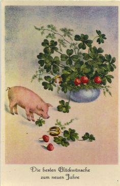 Neujahr - Glücksklee, Hufeisen, Glückspilz, Glücks-Schwein, Glanzkarte um 1930 in Sammeln & Seltenes, Ansichtskarten, Motive | eBay