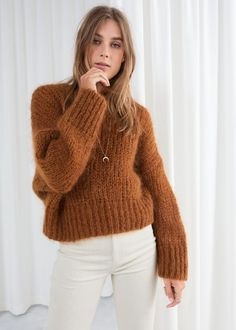 Wool Blend Chunky Knit Sweater - Camel - Sweaters - & Other Stories Pull Mohair, Poncho, Mohair Sweater, Cool Sweaters, Knit Fashion, Sweater Outfits, Wool Blend, Knitwear, Autumn Fashion