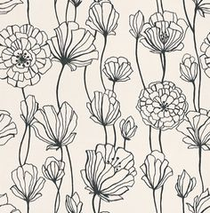 Black & White (BW28740) - Brewers Wallpapers - A contemporary stylized floral trail in contrasting black on white - other colours ways are available. Please request a sample for true colour match.