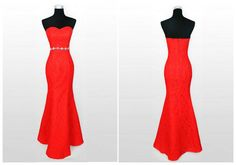 lace prom dresses.red prom dresses. mermaid prom by bridesmall, $146.99