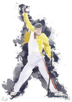 A Freddie Mercury digital watercolor illustration. I grew up listening to Queen albums on my family trips and this project was born as a poster for my brother. I though other fans might enjoy it as well :) Freddie Mercury Tattoo, Freddie Mercury Quotes, Queen Freddie Mercury, Family Illustration, Watercolor Illustration, Freedie Mercury, Queen Drawing, Queen Albums, Queens Wallpaper