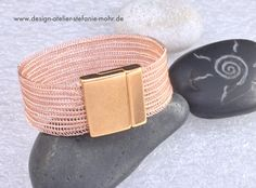 double wire crochet CUFF BRACELET -  rosé coloured copper wire with magnetic clasp
