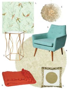 1. Hummingbird Wallpaper from Fabrics & Papers; £59 2. Capiz Pendant from Pottery Barn; $199 3. Linen Chair from Urban Outfitters; $299 4. R...