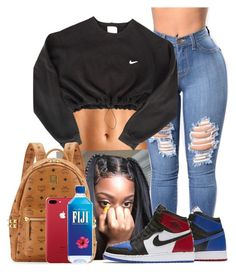 A fashion look from November 2017 featuring cropped shirts and mcm bag. Browse and shop related looks. Cute Swag Outfits, Trendy Outfits, Summer Outfits, Fashion Outfits, Teen Girl Fashion, Dope Fashion, Jordan Outfits, Nike Outfits, Teenager Outfits