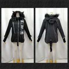 Gothic V series Gothic cat ear hoodies jacket tail faux fur thimbles patch chain black stripes and 2 color