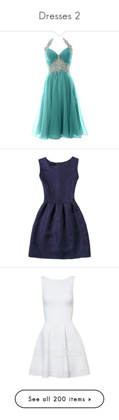 """Dresses 2"" by cavallaro ❤ liked on Polyvore featuring dresses, gowns, vestidos, short dresses, blue formal dresses, short lace dress, blue gown, blue formal gown, short formal dresses and navy"