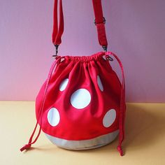 Items similar to RED Toadstools Crossbody Bucket Bag, Mushroom Drawstring Purse, Girls Womens Sling Twinning Mummy Kids Vegan Pouch Super Mario Geek Cosplay on Etsy Mochila Hippie, Baby Cosplay, Novelty Bags, All I Ever Wanted, Cool Backpacks, Diy For Girls, Looks Cool, Aesthetic Clothes, Bucket Bag