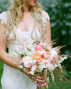 peach and pink bridal bouquet with pieris japonica White Wedding Bouquets, Flower Bouquet Wedding, Floral Bouquets, Bridesmaid Bouquet, Wedding Bridesmaids, Bridal Bouquets, Wedding Dresses, Trailing Bouquet, Ribbon Bouquet