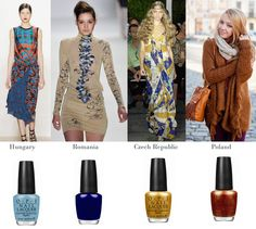 Runway looks to match OPI Euro Centrale Nail Polish Collection