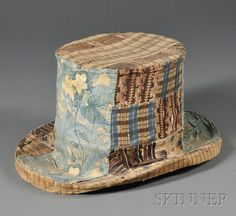 Pieced Cotton Patchwork Covered Papier-mache Top Hat | Sale Number 2558M, Lot Number 375 | Skinner Auctioneers