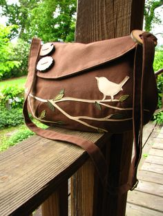 Bird Tote Vegan Purse Nature Messenger Handmade Tote by LBArtworks