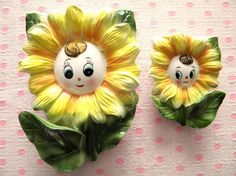 Vintage Sunflowers with Faces Wall Pockets #vintage
