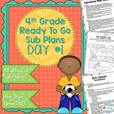 Grade Sub Plans Set Emergency Substitute Plans or Distance Learning Engage In Learning, Learning Activities, Teaching Resources, Substitute Folder, Substitute Teacher, Emergency Sub Plans, Teacher Hacks, Ready To Go, Fourth Grade