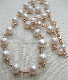 Beaded soft pale pink freshwater pearls wire wrapped 14 kt Rose goldfil necklace Beaded pearls Wedding jewelry Rosary style - pinned by pin4etsy.com