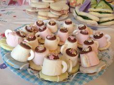 Marshmallow mini teacups for a tea party! Teaparty / afternoon tea / birthday / party