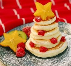 Elf movie night, breakfast for dinner, Christmas tree pancakes with lots of syrup!