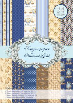 Scrapbooking - Reddy Designerpapierset - Nautical Gold - ein Designerstück von ZeitfuerKreatives bei DaWanda