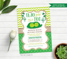 two peas in a pod baby shower, two peas in a pod invitation, twins baby shower invites, twin boys, twin girls, gender neutral, instant by TinyConfetti