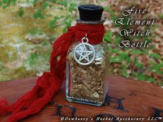 FIRE ELEMENTAL Witch Bottle 2oz For Elemental Honouring, Spellcraft, Watchtower Magick, Sacred Offerings, Witchcraft, Spirit Calling by DewberrysHerbal on Etsy