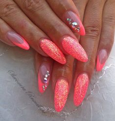 Neon Nails met soak off gel polish Neon Nails, 3d Nails, Stiletto Nails, Love Nails, Pink Nails, Glitter Nails, Gorgeous Nails, Pointed Nails, Glam Nails