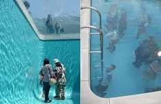"""imagineblog:  anotherarchitect:  Interesting art installation working with the perception of spaces. I am just wondering what the climate under the thin layer of water is. Maybe it could be an interesting concept for architectural projects if the water is cooling down the space efficiently. Has anyone seen the installation? viathedailywhat:  Art Project of the Day: Argentinian artist Leandro Erlich's """"Swimming Pool"""" installation at The 21st Century Museum of Contemporary Art in Kanazawa…"""