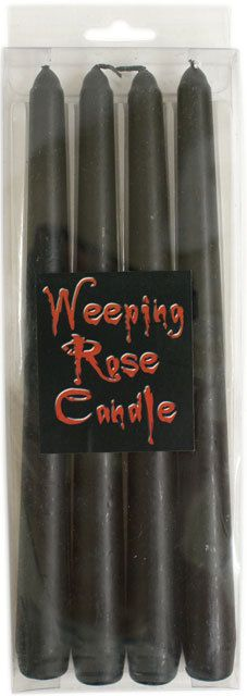 PACK OF FOUR WEEPING ROSE BLACK TAPER CANDLES