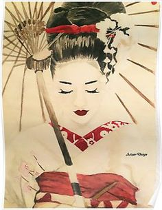 Inspired by Memoires of a Geisha. This is absolutely gorgeous. It would go well in my guest room where I'm going to have some Japanese stuff thrown in. Geisha Kunst, Geisha Art, Geisha Drawing, Japanese Drawings, Japanese Geisha Tattoo, Asian Artwork, Art Asiatique, Japanese Painting, Japanese Watercolor