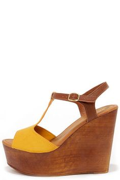 Cute Yellow Wedges - Plaform Wedges - Wedge Sandals - $36.00