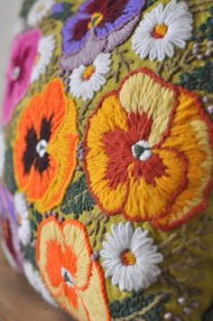 "Vintage Needlepoint ""Nonna"" Embroidered Linen Pansy Pillow/Handmade Accent…"