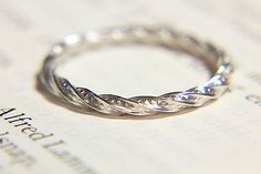 Square Sterling Silver Twisted Band with Beaded Detail