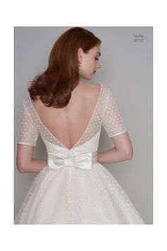 LB197 NELLIE 1950s Tea Length Polka Dot Short Vintage Wedding Dress