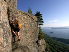 Precipice Trail at Acadia National Park, Maine one of the most amazing hikes ever!  The views were spectacular.