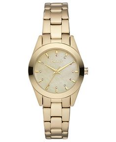 DKNY Watch, Women's Gold Tone Ion Plated Stainless Steel Bracelet 28mm NY8620 - - Macy's