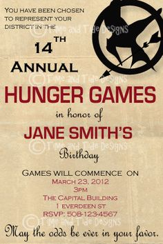 Hunger Games party...i want this party!