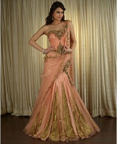 Sequined and Paneled Peach Lengha Set  by Kisneel By Pam Mehta