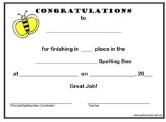 Congratulate your spelling bee students with this upbeat, free spelling bee certificate!