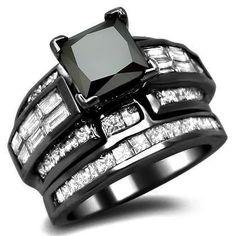 4.52ct Black Princess Cut Diamond Engagement Ring Bridal Set 18k Black Gold  I need this now, it's so me!