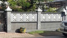 Home fence is the finishing touch of every home. It serves as the framework of your home from the outside. It is also the one responsible for securing. Zen House Design, Boundry Wall, Affordable Bedroom Sets, Compound Wall Design, 2bhk House Plan, Balcony Railing Design, Brick Art, Suburban House, Building A Fence