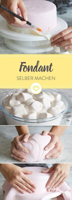 Making fondant yourself: The recipe with a guarantee of success- Fondant selber machen: Das Rezept mit Geling-Garantie Not only looks beautiful, is also made very easy – promised! With the right tips and tricks you can make your fondant yourself. Pastry Recipes, Meat Recipes, Cake Recipes, Dessert Recipes, Fondant Recipes, Cake Pops, Making Fondant, Cake Making, Naked Cakes