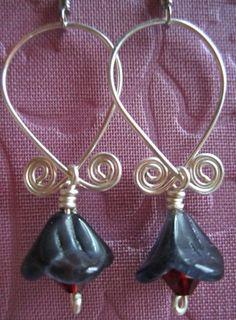 Green Glass Flower and Brass Wire Earrings