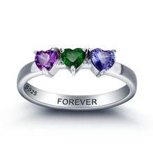Personalizované dárky a 925 Sliver kámen Srdce Rings Vlastní rodinný přítel ryté šperky Manželka Matka Mom Láska Rings (Čína (pevninská část))