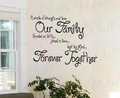 A Circle Strength and Love Our Family Faith Inspirational Quote Lettering Decor Sticker Art Mural Vinyl Large Wall Decal Decoration IN53. $27.97, via Etsy.