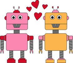 Valentine's Day robots.