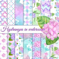 Hydrangea papers Graphics 14 watercolor hydrangea seamless patternsPerfect for:- Scrapbooking.- Personal website, blog, b by robertichka