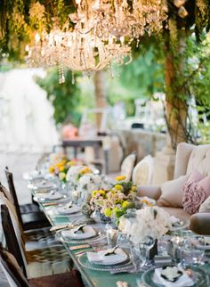 Glam up an outside reception with the use of chandeliers