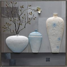 Source 3 Piece Canvas Relief Retro Oil Painting Flowers In Vases on m.alibaba.com