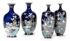 Four small cloisonné-enamel vases Meiji era (1868-1912), late 19th/early 20th century (4) Lot 187 unsigned H 16cm 1000 pounds OK